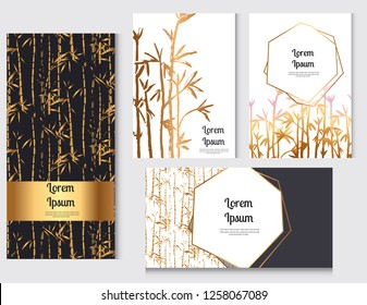 Bamboo forest background pattern. Hand drown bamboo forest. Vector illustration