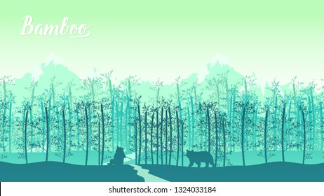 Bamboo forest in the morning. Forest at Arashiyama, Kyoto,Japan. Lanscape of bamboo tree in tropical rainforest, Malaysia. Template land page wallapapers design concept