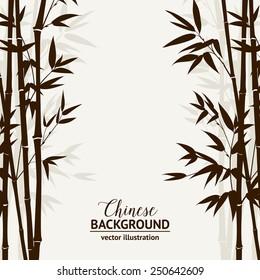 Bamboo forest over fog sky on backside, design card. Vector illustration.