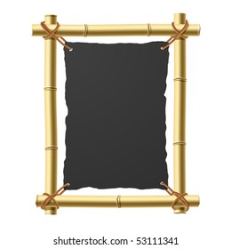 Bamboo frame with blank black paper. Vector.