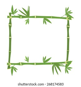 Bamboo frame, bamboo border vector, green bamboo