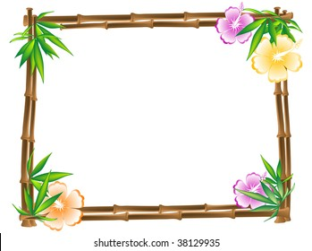 Bamboo frame with hibiscus and leaves