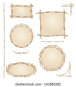 bamboo frame on a white background, design for menus, vector illustration