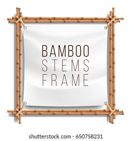 Bamboo Frame Realistic. Vector Bamboo Stems With Rope And Paper Or Silk Canvas.