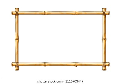 Bamboo frame template for tropical signboard with ropes and copyspace place for text, isolated on white transparent background.