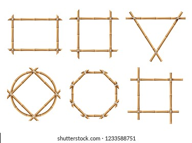 Bamboo frames. Wood stick banners of various shapes. Japanese rustic bamboo sign frame isolated vector set