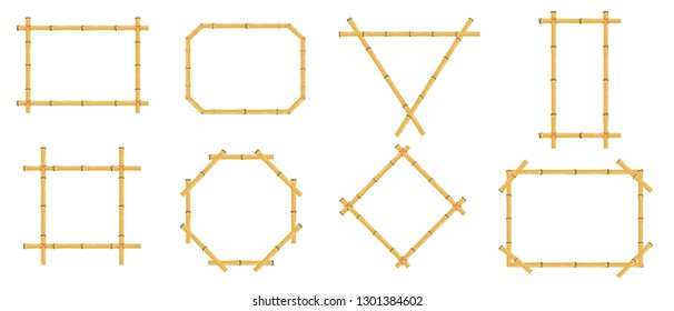 Bamboo frames. Wood stick banners of various shapes. Japanese rustic bamboo sign frame isolated vector set""