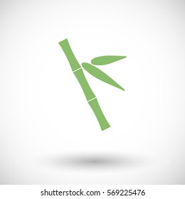 Bamboo icon. Flat design of asian tree branch with round shadow. Vector illustration