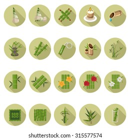 Bamboo icons set in flat design with long shadow. Illustration EPS10