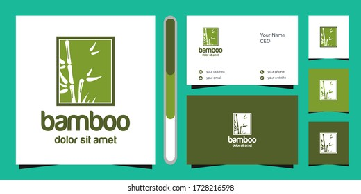 bamboo logo and business card vector icon download