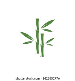 Bamboo logo with green leaf vector icon template