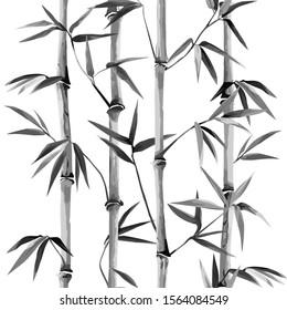 Bamboo Seamless Vertical Border on white background