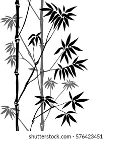 Bamboo Seamless Vertical Border on white background. Tropical wallpaper, nature textile print, template with text place.