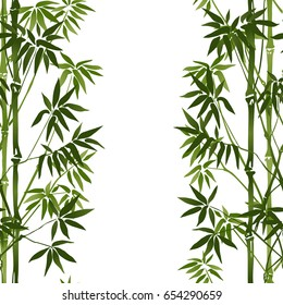 Bamboo Seamless Vertical Border on white background. Tropical wallpaper, nature textile print, template with text place. Vector watercolor stylization.