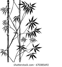 Bamboo seamless vertical embroidery border on white background. Tropical wallpaper, nature textile print, template with needlework effect and text place.