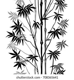 Bamboo seamless vertical pattern on white background. Tropical wallpaper, nature textile print.