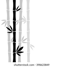 Bamboo silhouette vector illustration, white background.