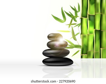 Bamboo and stones - spa background with place for your text. Vector illustration.