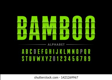 Bamboo style font design, alphabet letters vector illustration