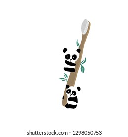 Bamboo toothbrush wih panda zero waste concept vector illustration