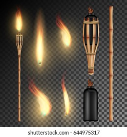 Bamboo Torch Vector. Burning Beach Bamboo Torch With Flame. Realistic Fire Lamp. Wall Light Sign. Isolated On Transparent Background. Vector Illustration