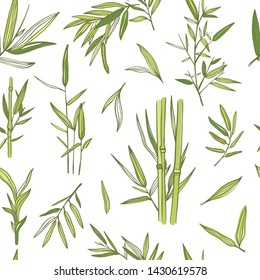 Bamboo trees vector seamless pattern. Background with bamboo plants and leaves. Green florals concept