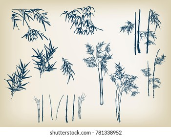 bamboo vector design elements hand drawn