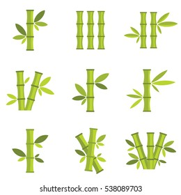 Bamboo vector icons set isolated on white background. Stick bamboo with foliage and leaves, vector  illustration.
