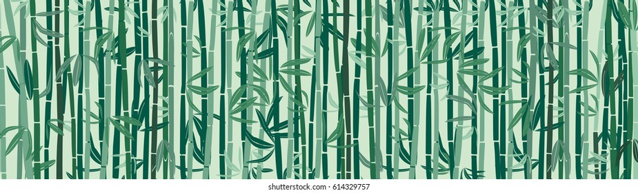 Bamboo wall background, wide vector illustration
