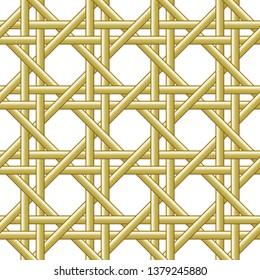 Bamboo weave. Seamless weaving basket pattern texture background. Vector illustration.