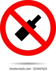 Ban alcohol sign flat icon. Symbol bottle, alcoholic no, forbidden beverage, vector illustration