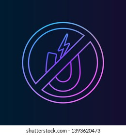 ban, forbiddance magnet, loadstone, lode icon. Simple thin line, outline vector of ban, prohibition, forbid icons for UI and UX, website or mobile application on dark gradient background