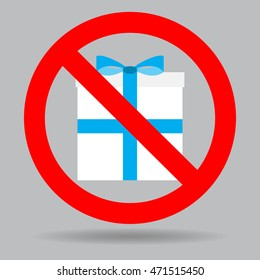 Ban gift box. Gift prohibited and surprise sign no. Vector illustration