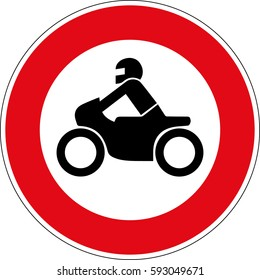 The ban for motorcycles. Vector road sign Germany.