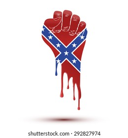 Ban on the Confederate flag inside stop sign. Vector Illustration.
