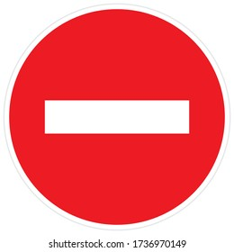 ban on entry of all vehicles, red circle prohibition sign, stop symbol