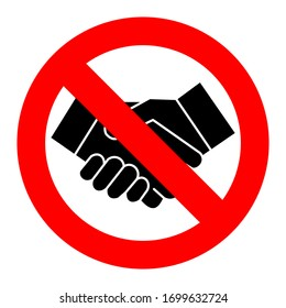 Ban on handshake. The sign does not permit a handshake. Vector illustration.
