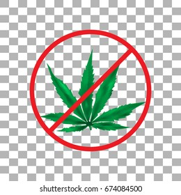 The ban on a leaf of marijuana, on an isolated background