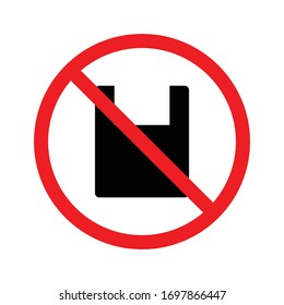 Ban plastic, forbidden, no bag, prohibited icon