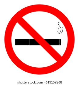 Ban smoking icon. No cigarette sign, vector illustration