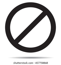 Ban symbol template. Black ban mark, prohibition label and forbidden, vector illustration