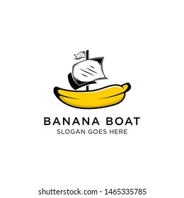 banana and boat logo designs template. isolated white background. yellow, white and black colors.