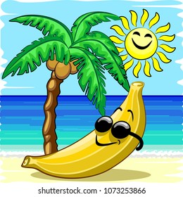 Banana Chill! Happy Banana relaxing on the Beach, under a Palmtree, and and a smiling Sun. Childlike Summer Vector Illustration