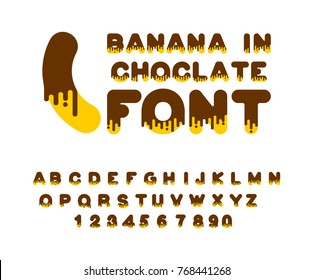 Banana in chocolate font. sweetness alphabet. Liquid lettering. Sweet viscous ABC sign. Dessert vector illustration