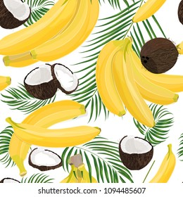 Banana, coconut, whole and pieces with palm leaves isolated on white background. Colorful botanical vector ilustration. Vintage tropic design. Good idea for Summer jungle Fashion seamless pattern