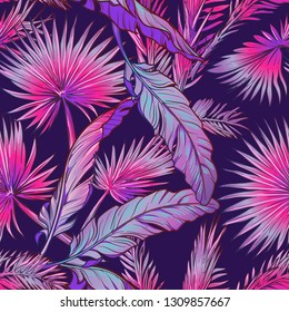 Banana and fan palm tree leavs on a dark purple background. Tropical jungle. Seamless pattern with Irregular distribution of elements. EPS10 vector illustration.