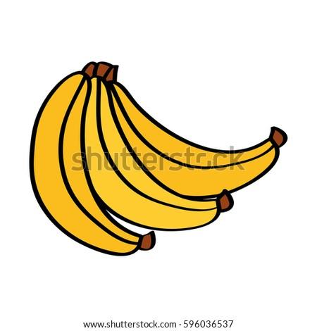 Banana Fresh Fruit Drawing Icon Stock Vector Royalty Free