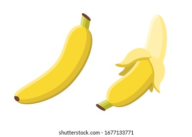 Banana fruit vector icon illustration.  Flat cartoon style suitable for web landing page, banner, flyer, sticker, card. Isolated