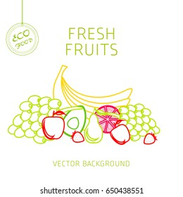 Banana, grapes, apple, pear, strawberry, kiwi, avocado, grapefruit, fruit set, vector background, fresh fruit, healthy diet, greeting card