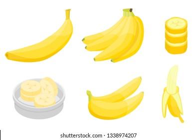 Banana icons set. Isometric set of banana vector icons for web design isolated on white background
